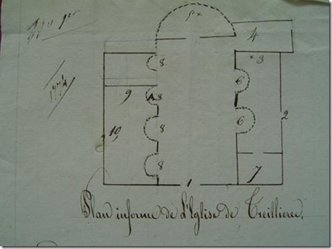 Sur ce plan de 1829 le N° 4 indique la sacristie-mairie