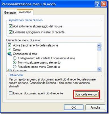 Eliminare cronologia Esegui su Windows XP