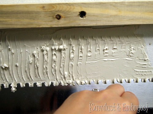 Notched Trowel ~ Installing a Mosaic Backsplash {Sawdust and Embryos}