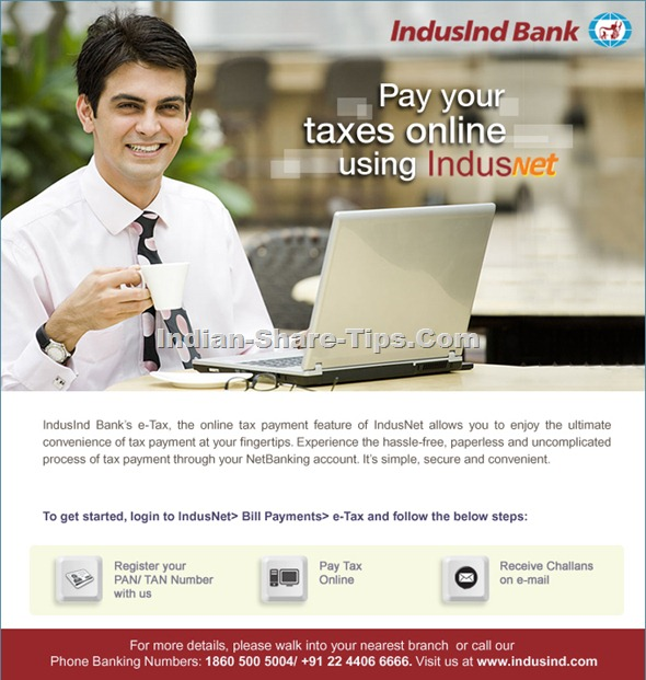 Etax filing procedure through Indusind bank