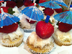 Topped with a strawberry and umbrella for a festive look