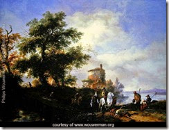 A-river-landscape-with-a-gentleman-and-lady-riding-to-the-chase