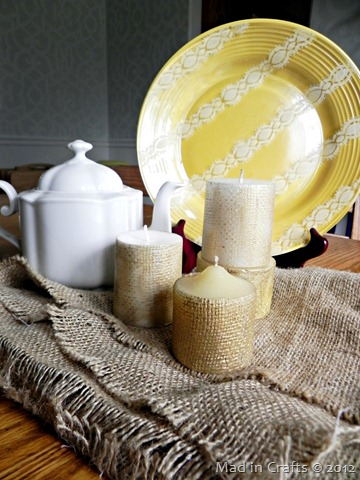 golden burlap candles