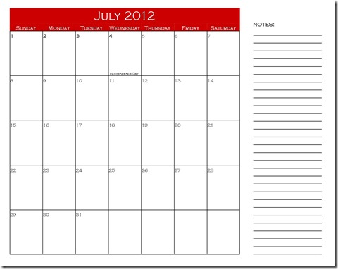 July 2012 Calendar with Notes