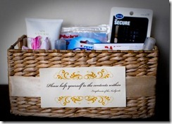 bathroom basket. Essentials for the Ladies