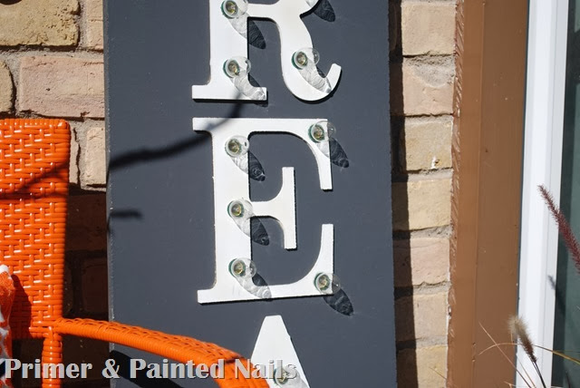 Marquee Sign with Lights - Primer & Painted Nails