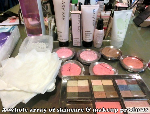 Array of skincare and makeup