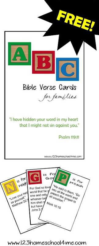 FREE Printable Family Verses Cards with verses every child should know arranged from A to Z
