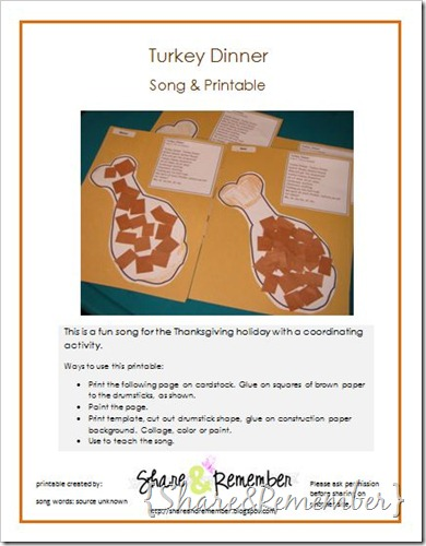Turkey Dinner Song & Craft Printable