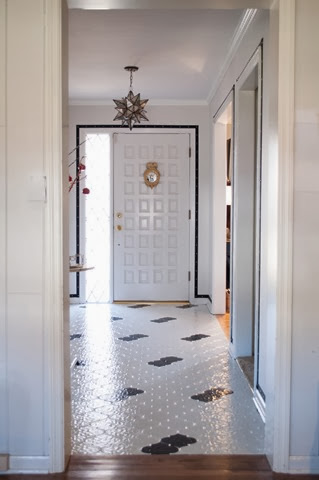 Moroccan tile painted black and white