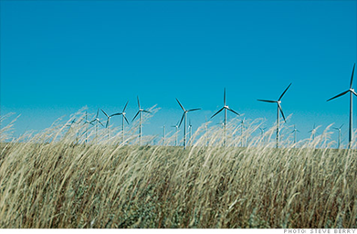 Xcel's Ponnequin Wind Farm on the Colorado-Wyoming border. The wind farm helped the utiltiy produce 57% of its power from wind one night this spring - a U.S. record. Steve Berry