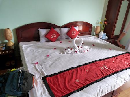 Cazare Vietnam: lebede din prosoape in camera Hotel Hai Au