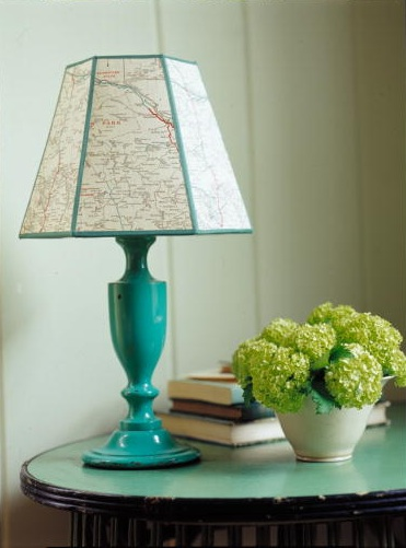 What a clever idea. An old map has been recycled into a lamp shade. (Martha Stewart Living, August 2002)
