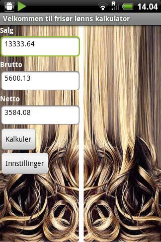 Frisør Lønns kalkulator