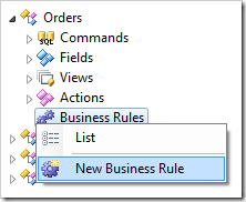 New Business Rule context menu option for Orders controller in the Project Explorer.