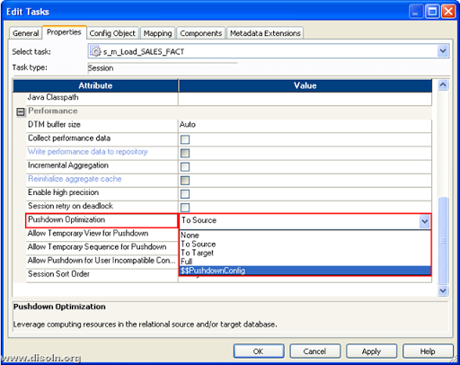 Informatica PowerCenter Pushdown Optimization setting