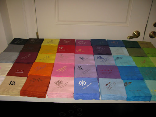Just a sampling of the customized napkins For Your Party offers.