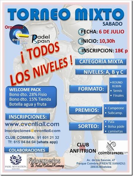 Torneo Mixto Sábado 6 julio 2013 en Coimbra Pádel de la mano de Eventiall Sports.