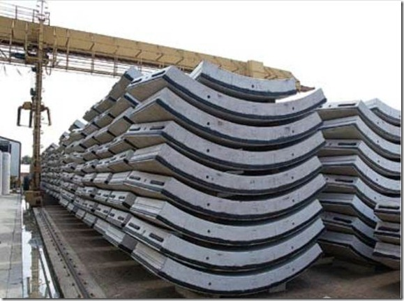 Tunnel lining segments stacked, ready for
