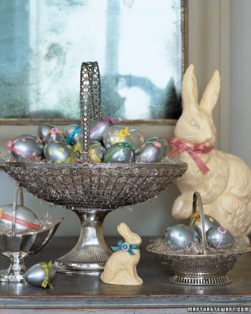 Add some shine to your Easter celebration with polished silver baskets. (marthastewart.com)