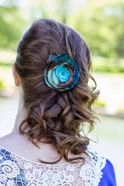 Aqua Blue and Brown Burned Edge Galaxy Flower from Button Top Sugar Shop