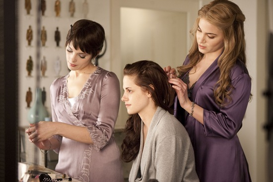 Ashley Greene is Alice Cullen, Kristen Stewart is Bella Swan and Nikki Reed is Rosalie Hale in Breaking Dawn part 1