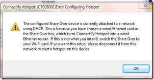 ข้อความ error  cf00b001 ในโปรแกรม Connectify
