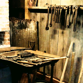 The Workshop by Roxanne Dean - Artistic Objects Industrial Objects ( tools metals wood shop iron hammers,  )