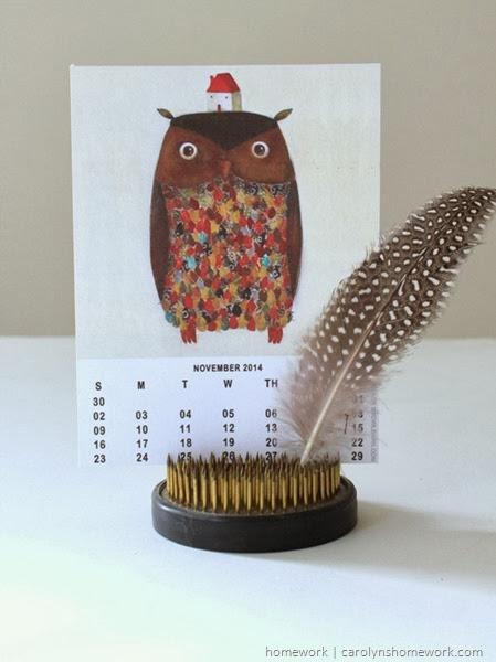 2014 Owl Lovers Calendar via homework | carolynshomework.com