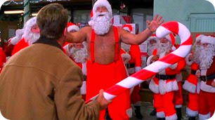 Arnie confronts the evil Giant Santa