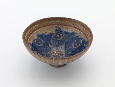 Bowl | Origin:  Iran | Period: 14th century  Il-Khanin period | Details:  Not Available | Type: Stone-paste under glaze with painted decoration | Size: H: 5.0  W: 1.9  cm | Museum Code: F1909.131 | Photograph and description taken from Freer and the Sackler (Smithsonian) Museums.