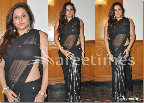 Namitha_Black_Georgette_Saree