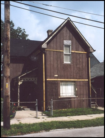 At the time of the 1900 census, the address of this home was 1117 South West Street, Indianapolis, Indiana.  At one time, there may have been 14 people living in the home together.  This photo was taken in 2005.