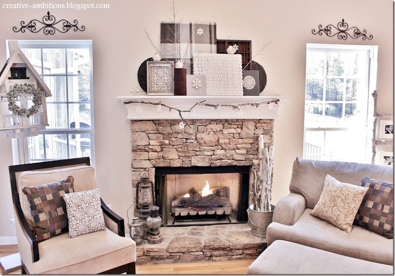 Winter Mantel Living Room