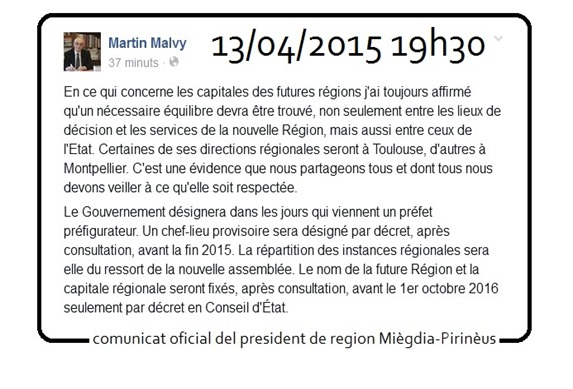 comunicat oficial del President de la region Miègdia-Pirinèus