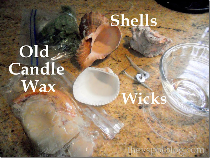 shells, candle, wicks, wax
