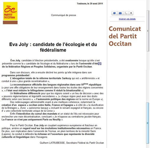 comunicat Eva Joly Partit Occitan 290811