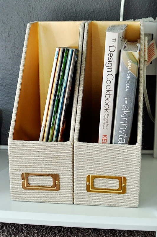 Organization can be functional and beautiful. Magazine holders by Nate Berkus for Target.