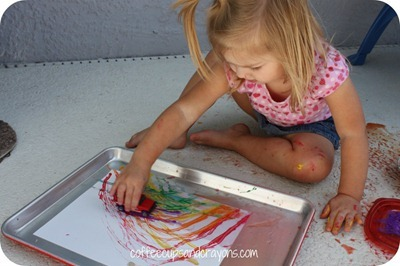 Rainbow Car Painting from Coffee Cups and Crayons