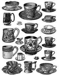 Vintage Tea Cups Collage Sheet [free download from DoverPublications.com] by autumnsensation, on Flickr