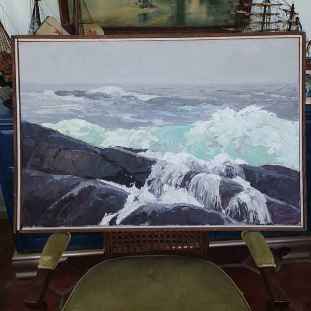 thriftscorethursday boxycolonial ocean oil painting2