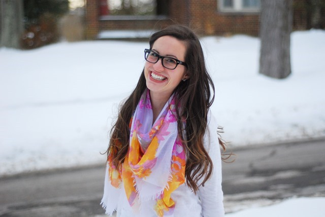 Floral scarf, Jeans, Firmoo specs