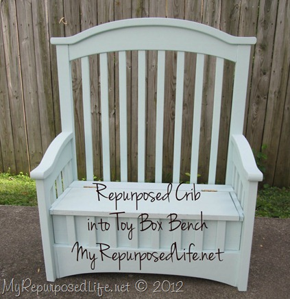 upcycle a crib-toy box bench