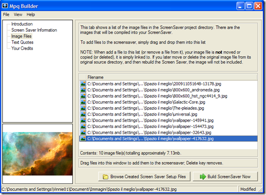 Mpq Builder aggiungere immagini per lo screensaver