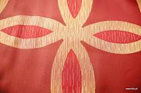 Ekskluzywna tkanina trudnopalna. Na zasłony, poduszki, narzuty, dekoracje. Czerwona.
