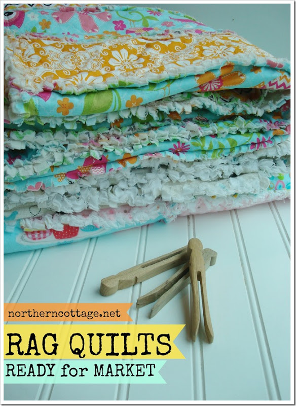 {Northern Cottage} a pretty stack of handmade RAG QUILTS ready for market!!