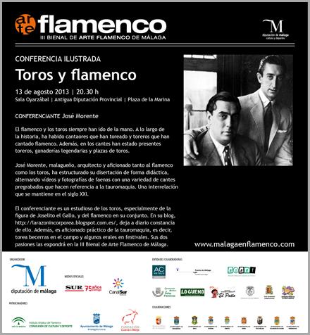 Tarjeta invitación conferencia toros y flamenco