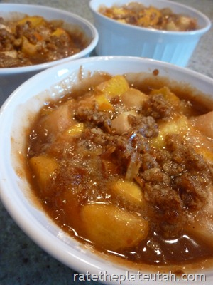 Preztel Crusted Caramel Peach Crisp