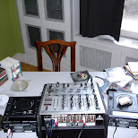 DJ decks in a canalhouse in downtown amsterdam in Amsterdam, Noord Holland, Netherlands