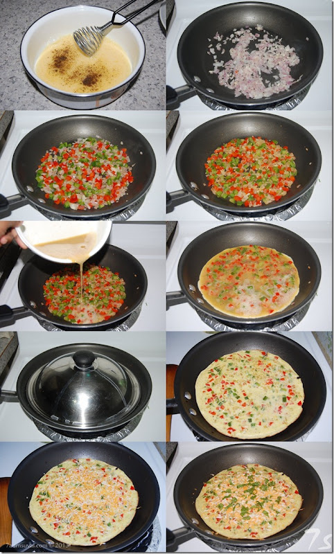 Vegetable cheese omelette process